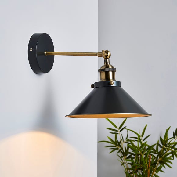 Logan Industrial Black Wall Light Dark nickel