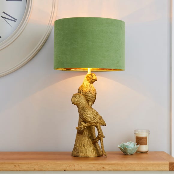 Polly Parrots Gold Table Lamp Green