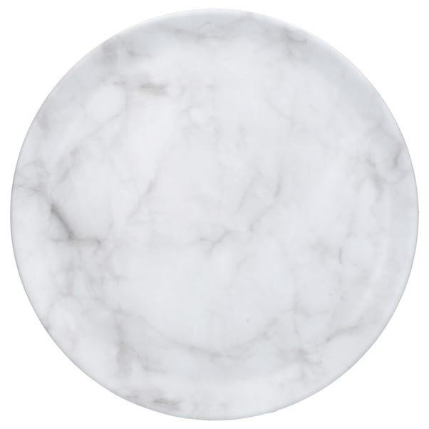Marble Effect Melamine Tray Round Grey