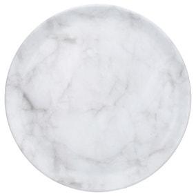 Marble Effect Melamine Tray Round
