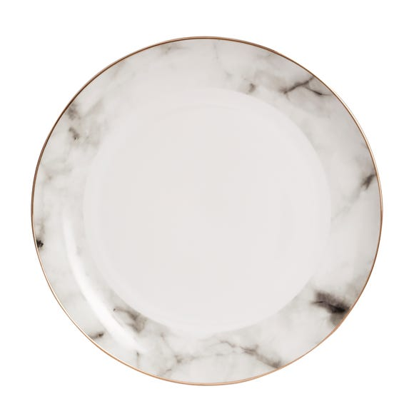 Marble Effect Gold Rim Dinner Plate White