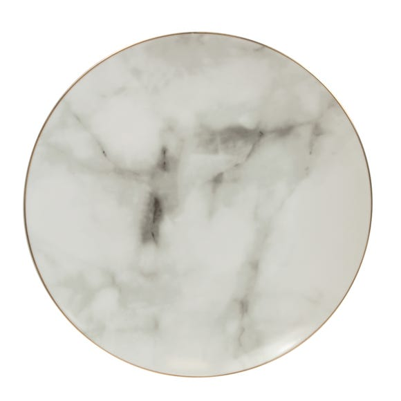 Marble Effect Gold Rim Side Plate White