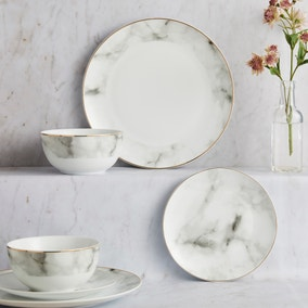 Marble Effect 12 Piece Gold Rim Dinner Set