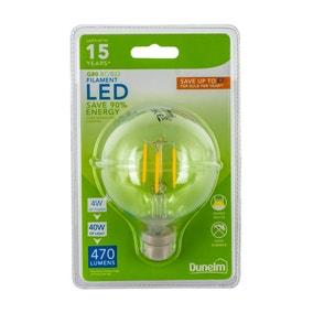 Dunelm 4 Watt BC LED filament G80 Globe Bulb