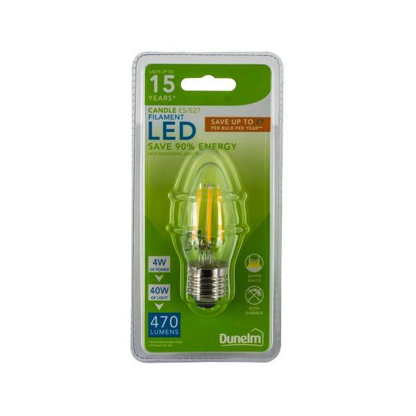 Dunelm 4 Watt ES LED Filament Candle Bulb Clear