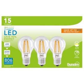 Dunelm 6 Watt ES LED Filament Bulb GLS 3 Pack