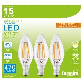 Dunelm 4 Watt SES LED Filament Candle Bulb 3 Pack
