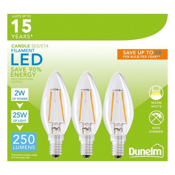Dunelm 2 Watt SES LED Filament Candle Bulb 3 Pack Clear