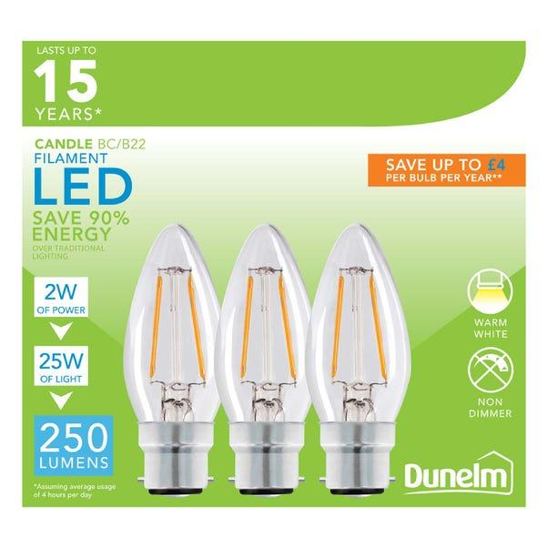 Dunelm 2 Watt BC LED Filament Candle Bulb 3 Pack Clear