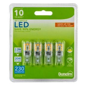 Dunelm 2.2 Watt G9 LED Warm White Light Bulb 4 Pack