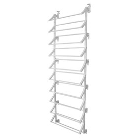 10 Tier Over Door White Shoe Rack