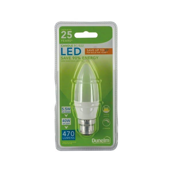 Dunelm 5.5 Watt BC Pearl LED Candle Bulb Clear
