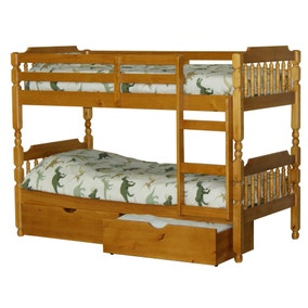 Spindle Pine Bunk Bed with Drawers