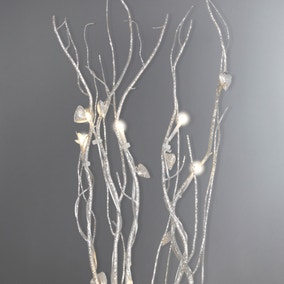 Silver Hearts Glitter Twig Lights