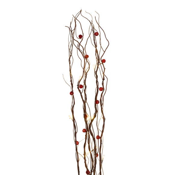 Red Beads Brown Twig Lights Brown