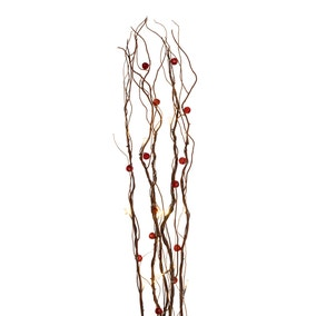 Red Beads Brown Twig Lights