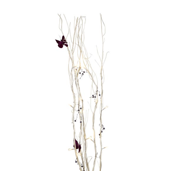 Purple Butterflies White Twig Lights White