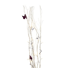 Purple Butterflies White Twig Lights