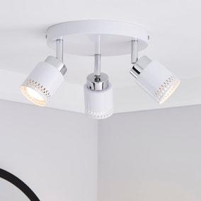 Nordby Piered 3 Light White Spotlight