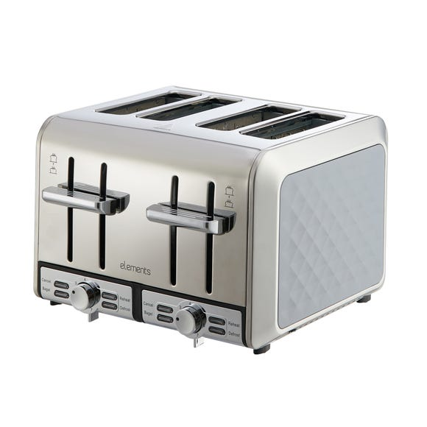 Elements 4 Slice Grey Toaster Grey