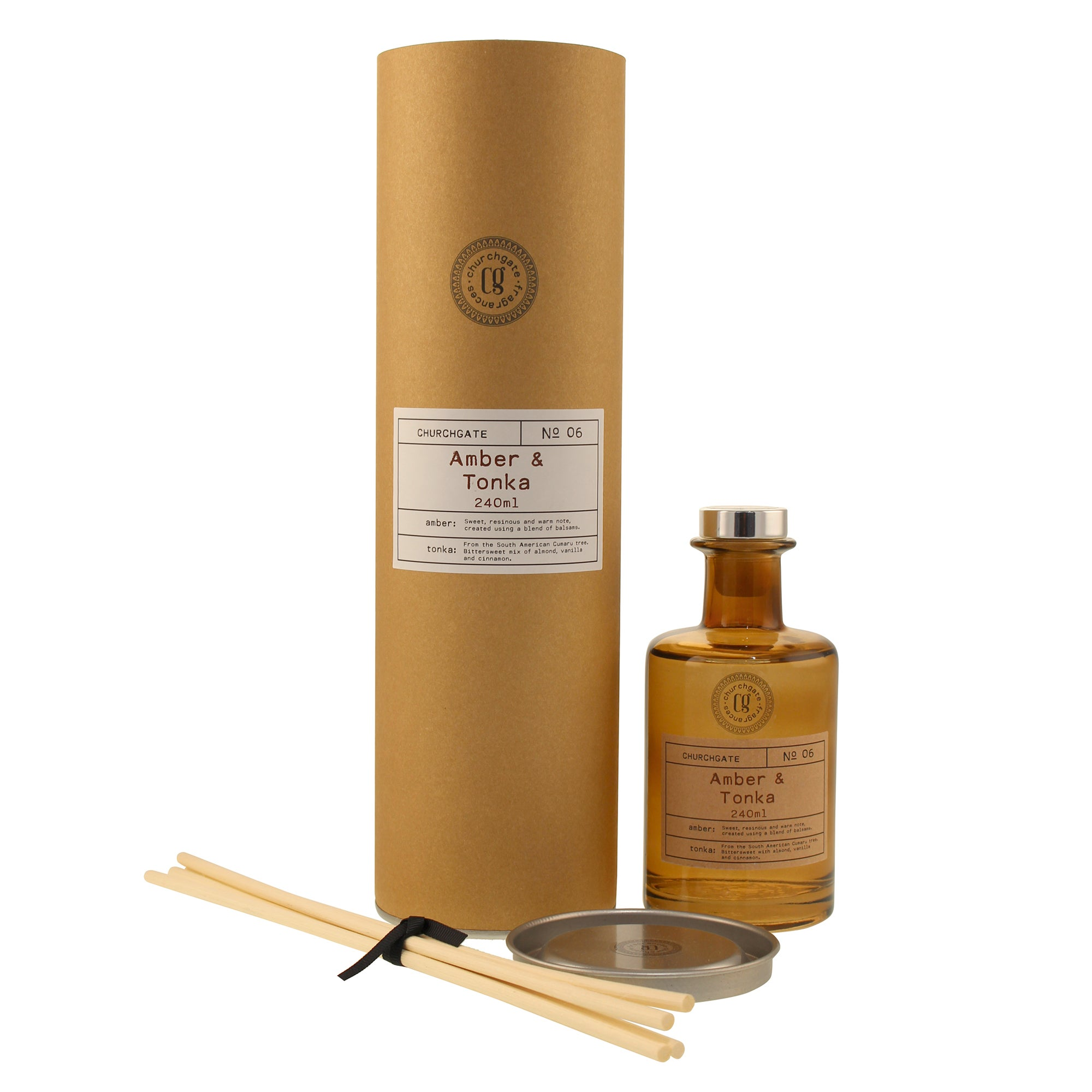 Click to view product details and reviews for Churchgate Amber And Tonka 240ml Reed Diffuser Brown.