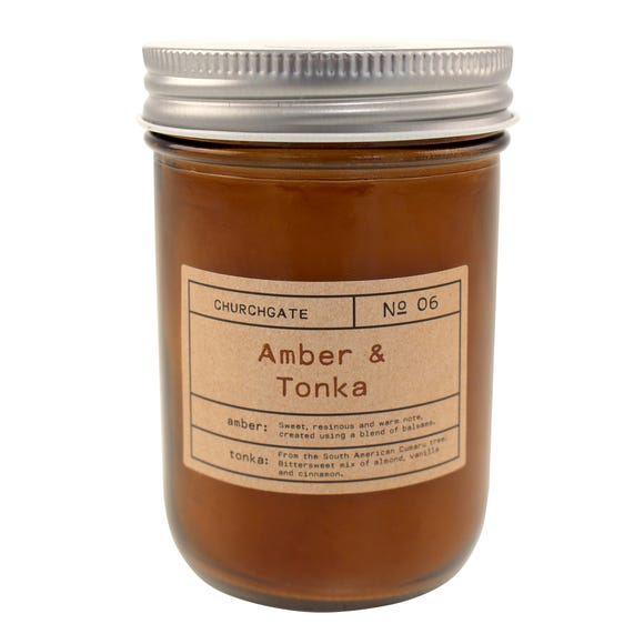 Churchgate Amber and Tonka Driftwood Candle Brown