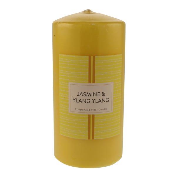Jasmine Ylang Pillar Candle Yellow