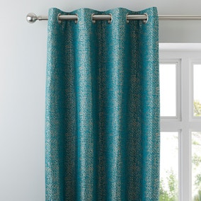 Smythe Teal Eyelet Curtains
