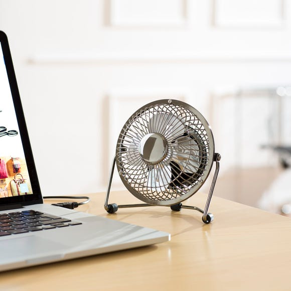 Chrome USB 4 Inch Desk Fan Chrome (Silver)
