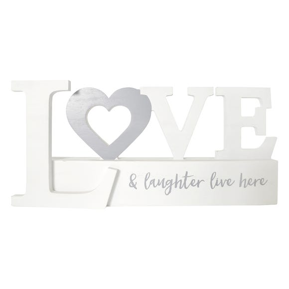 Love and Laughter Word Ornament White