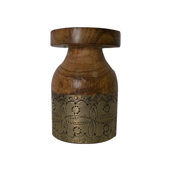 Small Decorative Wooden Candle Holder Brown
