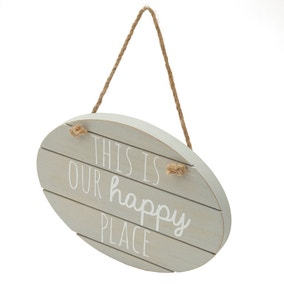 Grey Happy Place Hanging Plaque