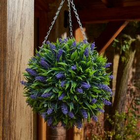 Elements Artificial Purple Flower Hanging Topiary Ball