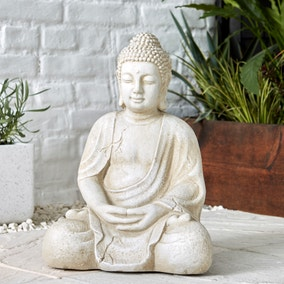 Fibre Clay Cream Sitting Buddha