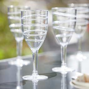 Set of 4 Swirl Acrylic Clear Wine Glasses