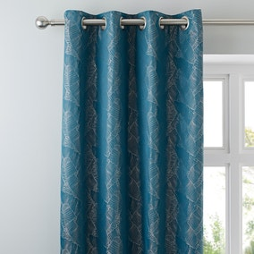 Banana Leaf Teal Eyelet Curtains