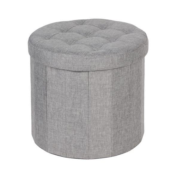Round Grey Shoe Storage Ottoman Dunelm