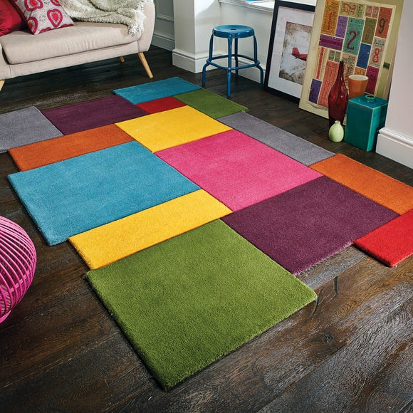 Abstract Collage Rug Multi Coloured undefined