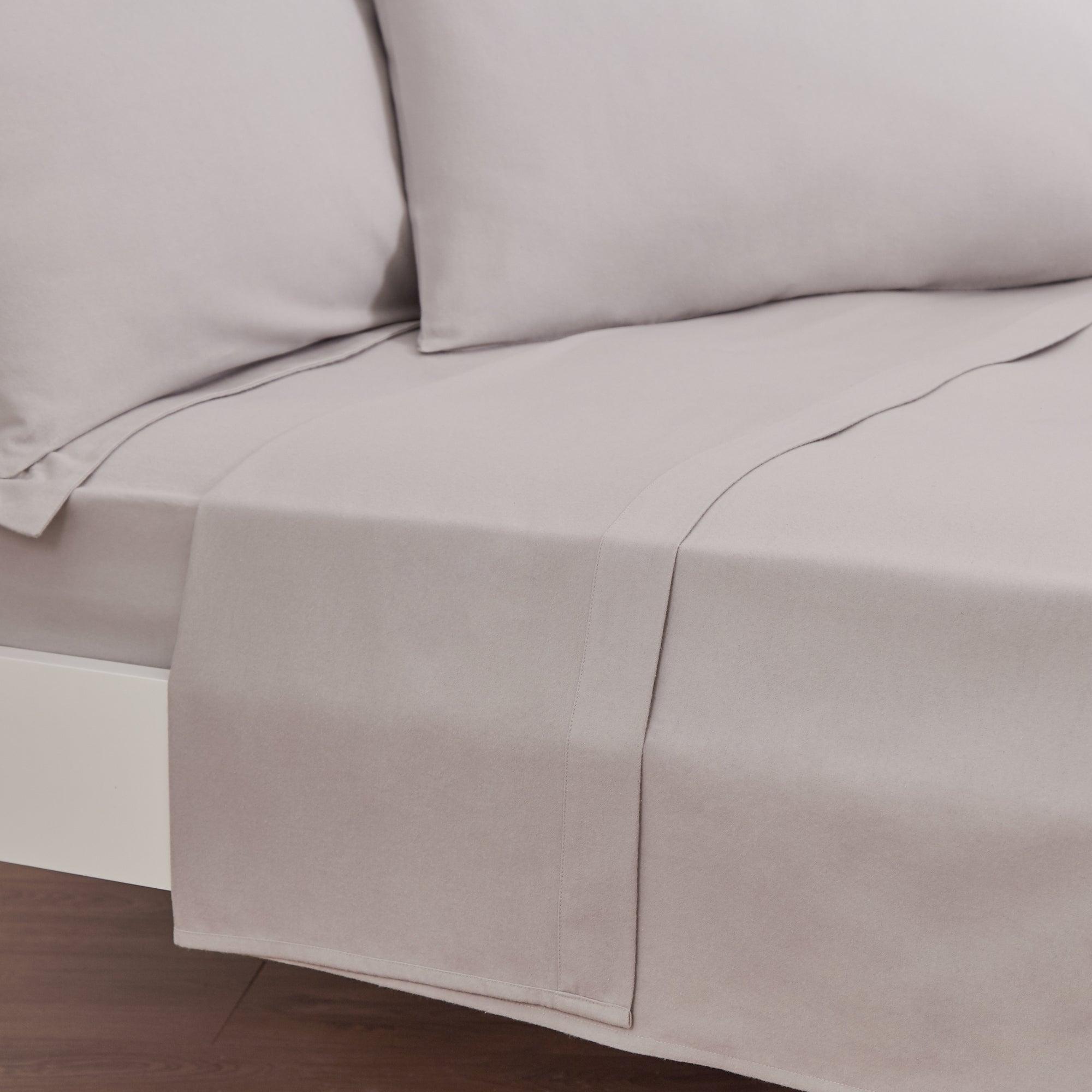 Photo of Luxury brushed cotton flat sheet silver