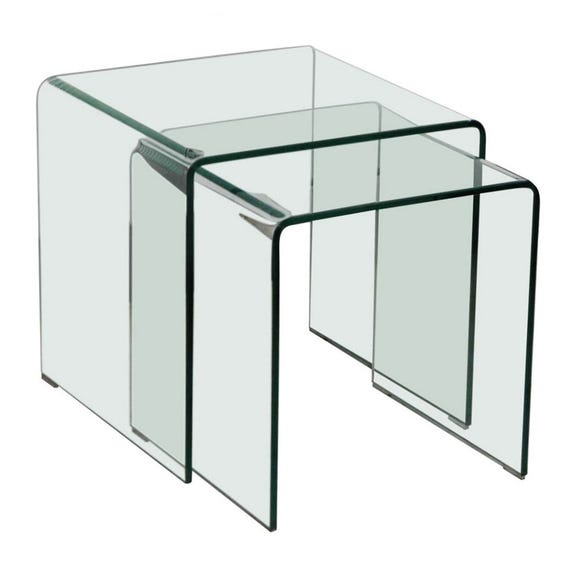 Azurro Glass Nest of Tables Brown