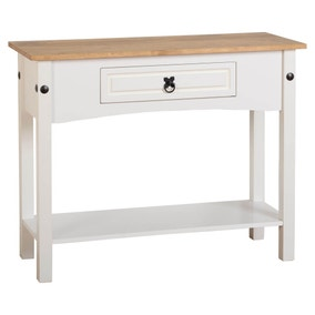 Corona White Console Table with Drawer