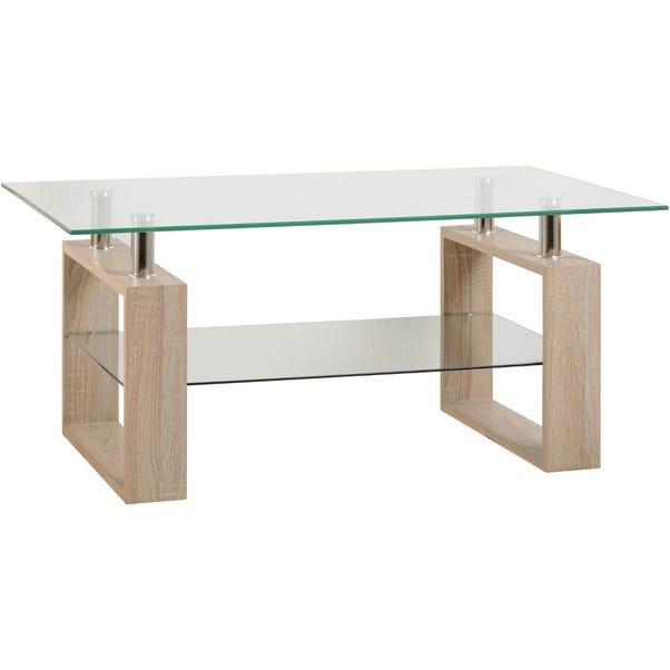 Milan Oak Glass Top Coffee Table Natural