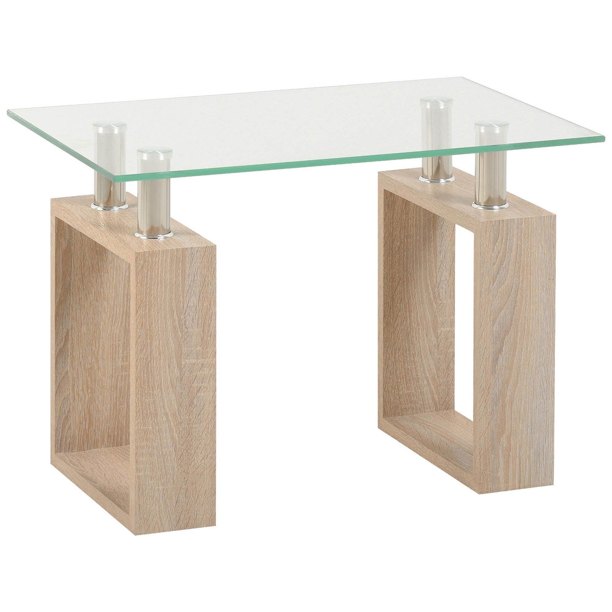 Milan Oak Glass Top Lamp Table Natural
