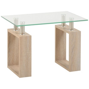Milan Oak Glass Top Lamp Table