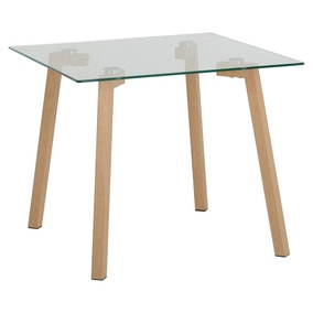 Morton Oak Effect and Glass Lamp Table