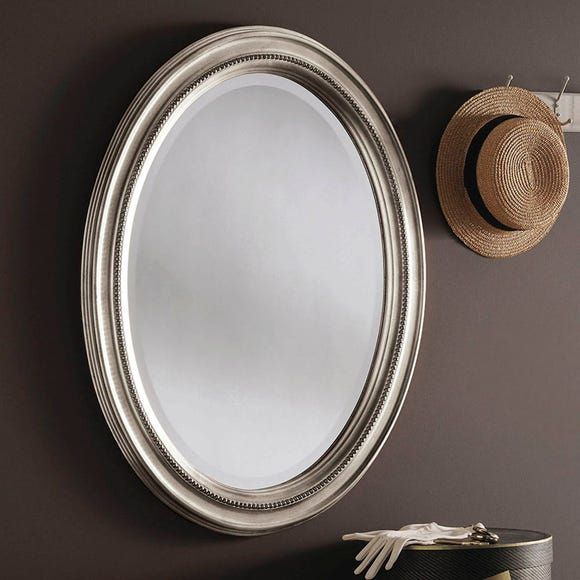 Yearn Beaded Oval Mirror 86x66cm Silver, Oval Silver Beaded Mirror