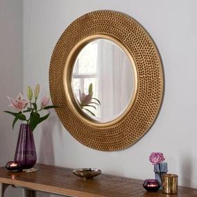 Yearn Round Beaded Mirror 78x78cm Gold
