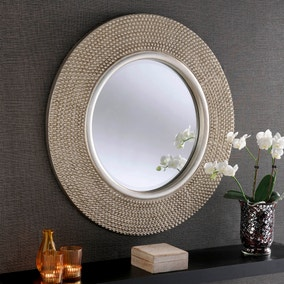 Yearn Round Beaded Mirror 79x79cm Silver