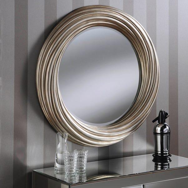 Yearn Round Mirror 86x86cm Champagne Silver