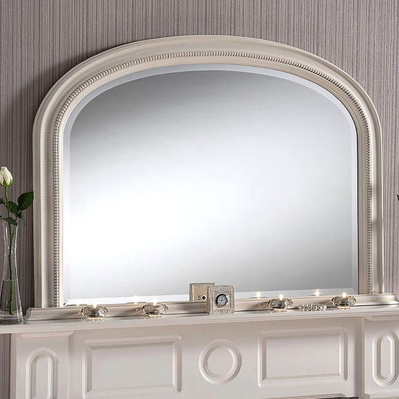 Yearn Beaded Mantle Mirror 112x79cm Ivory White undefined